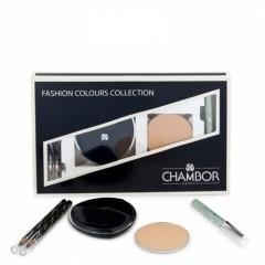 Chambor набор FASHION COLLECTION пудра+запаска+карандаш для век чёрный и синий+тени-карандаш серебр.